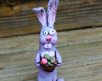 Easter Bunny Polymer Clay Sculpture