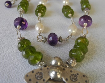 Sterling silver bumble bee pendant necklace with gemstones, pearls and pyrite