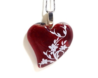 Bright red fused glass heart pendant and chain