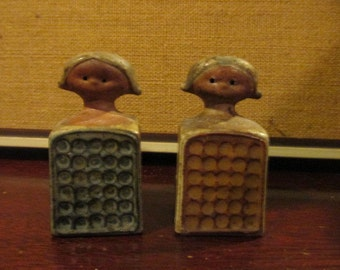 Mid Century made in Japan Art Pottery Figural Lisa Larsen style Salt and Pepper Shakers