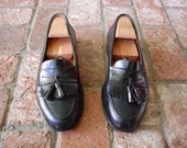 VTG Mens 9.5 Handmade Black Genuine Leather Italian Slip On Tassle Loafers Loafer Frill Preppy Hamptons Designer High Fashion Wedding