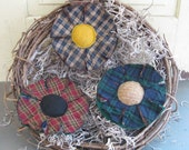 Homespun Primitive Flowers - Spring/Summer Bowl Fillers - Rustic Plaid Fabric Grungy - Set of 3 - Country Home Decor