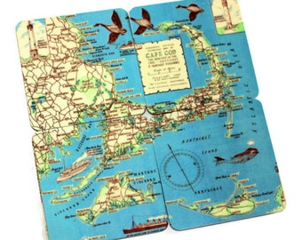 Cape Cod Map Magnets - set of 4