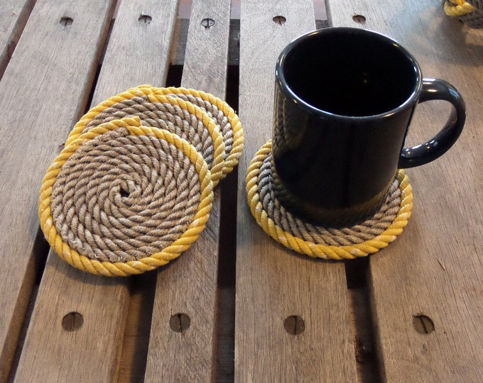 SET OF 4 Rope Coasters Choose Color Nautical Decor Coastal Beach Yellow Gray Grey