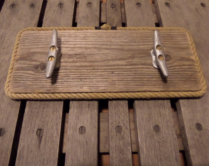 Coat Rack Reclaimed Distressed Wood Lined with Rope and Cleats 2 Hooks Nautical Beach Lake House