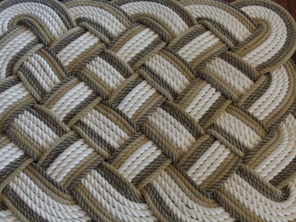 32 x 24 bathmat rug soft lay cotton and natural with tan for Rope bath mat