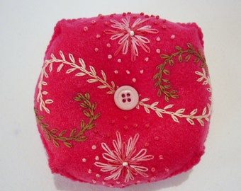 Hand Embroidered Felt Pin Cushion in Dark Pink