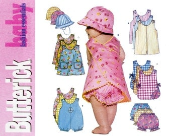 Infants and Toddlers Romper Pattern Uncut Butterick B5625 Jumper Panties Playsuit Bubble Suit Sun Bonnet Hat Cap Childrens Sewing Patterns