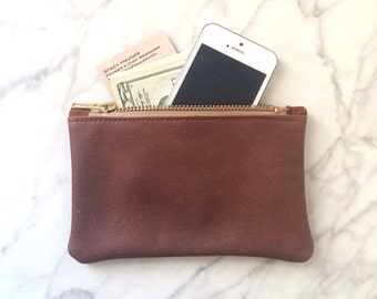 READY TO SHIP - Sale: Leather Zip Wallet - Cognac Brown or Merlot