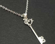 Skeleton Key Silver Music Note Necklace Pendant - Treble clef, Bass Clef, Alto Clef - Music Teacher Retirement Gift - Gift for Musician