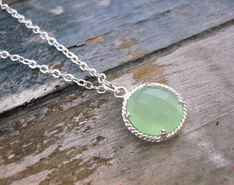 Dainty Mint Green Drop Necklace / Coin Necklace / Sterling Silver / Sea Glass / Beach / Nautical / Jewelry / 925 / Simple / Minimalist
