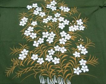 "Designer Fabric Panel 44"" x 46"" - screen printed single design - cotton blend - signed ""sb"""