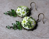 Polymer Clay Applique Green and White Floral Earrings with Swarovski Crystals