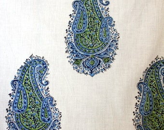 Hand Block Printed Fabric in Beautiful Paisley Pattern- One Yard