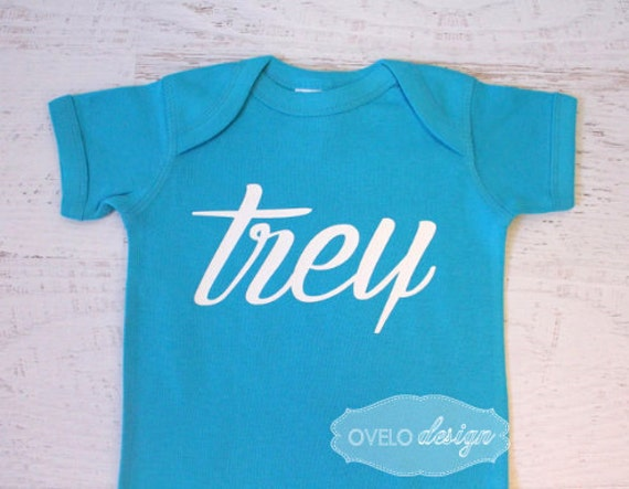Personalized Name Baby Bodysuit Pictured in Turquoise