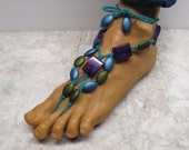 STAINED GLASS.  Blue, green, and purple barefoot sandals. Poolside, beach, and bellydancers! Fancy style. HFT-404