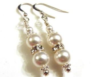 White Swarovski Pearl Earrings, White Pearl Earrings, Bridal Earrings, White Earrings