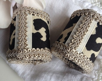 Animal Print Napkin Rings Handcrafted Cheetah Beige & Black Fabric Artisan Hand Crafted by Haute Interiors LLC - #8