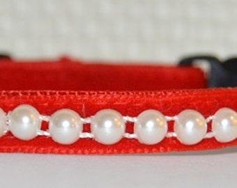 Pearl - Beautiful red velvet cat collar w/pearl ribbon - unique handmade design pet collar