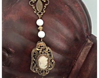 Cameo Necklace Vintage Necklace handmade vintage assemblage necklace