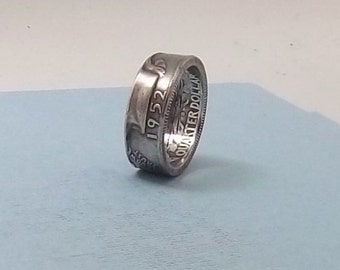 Silver coin ring washington quarter year 1952 size 7 1/2 90% fine silver jewelry