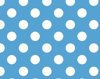 Riley Blake Cotton Flannel Blue Medium Dot 1 Yard
