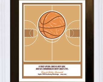 Personalized Gift for Coach - Basketball Coach - Custom Art Print - Signed Basketball Team Gift -  Thank you Gift