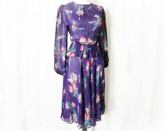 Vintage 70s Sheer Floral Dress S Purple Peplum Top Ruffle Knee Length