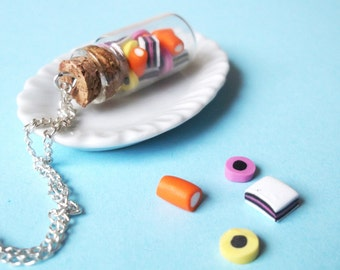 Liquorice Allsorts Necklace Bottle Necklace ( food necklace candy necklace gift for her food jewelry polymer clay food miniature food )