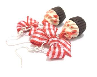 Red Cupcake Earrings Food Jewelry ( polymer clay food checked bow red bow earrings miniature food food earrings dessert earrings )