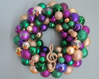 MARDI GRAS Wreath Ornament Wreath with TREBLE Clef and Staff 4 15