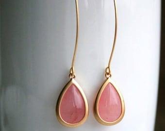 Pink Earrings in Gold. Coral Pink Earrings. Pink Earrings. Gold Dangle Earrings. Long Earrings. Bridesmaid Earrings. Pale Pink.Ice Pink.Gift