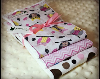 Baby Girl Burp Cloth Set - Owls - Pink Modern Patterns