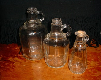 Vintage Vinegar Bottles 1925 date Graduated Sizes Small Glass Jug