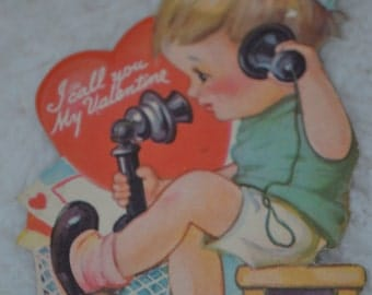 Vintage Valentine Little Boy on Phone 1940 made in the USA