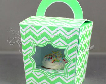 Cupcake Holder Favor Box, Mini cupcake holder, Chevron Green favor box, treat box, candy box, treat party, favor, gift | INSTANT DOWNLOAD