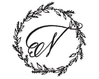 Monogram script with Rustic Wreath illustration Rubber Stamp Wodden Handle