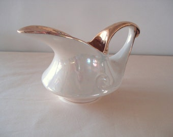 Retro Style Cream Iridescent Hand Decorated 22K Gold Pearl China Creamer.