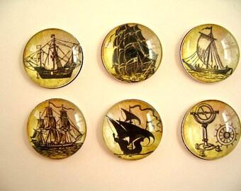Vintage Style Ship Magnet, Boat Fridge Magnet, Round Magnet, Vintage Style Magnet Set