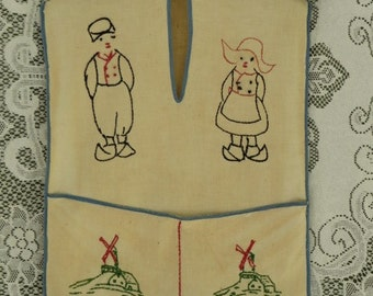 ANTIQUE Dutch Couple EMBROIDERED Laundry Bag with Pocket for Clothes Pins