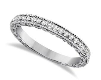 Milgrain & Filigree Diamond Wedding Band ,Sculptural Antique style Wedding Band in 14k White Gold--- ENS4391 gem1157