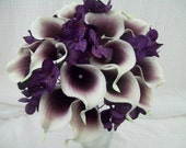 """Custom Order For """"Tiffany"""" Real Touch Purple And White Picasso Calla Lily Silk Wedding Flower Bouquets Coordinaitng Pieces Wedding Decor"""