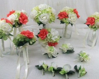 Hydrangeas and Rose Wedding Bouquets Ivory Green and Coral Real Touch and Silk Wedding Flower Package Romantic Garden Wedding