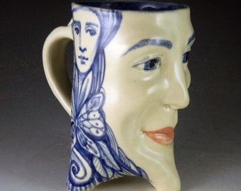 Blue and white OOAK large face mug with cobalt painting