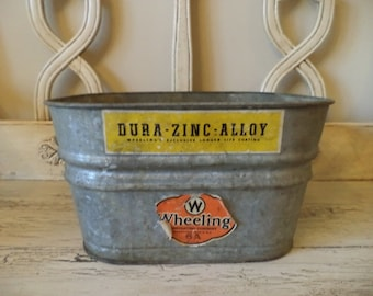 Vintage Galvanized Tub - Rustic Farmhouse Metal Bin - Perfect as a Drink Holder Bin