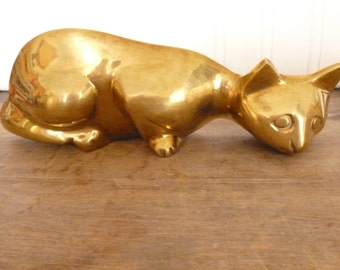 Vintage Brass Pouncing  Cat - Wall hanging - Cat Wall Decor