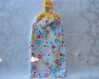 Hanging Double Kitchen Towel  Spring FlowerTowel Kitchen Towel Crochet Top Hanging Kitchen Towel
