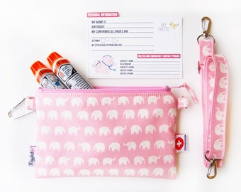 EpiPen Case with an Optional Adjustable Shoulder Strap, Medical ID Card, and a Carabiner - Pink Elephant (Oilcloth)