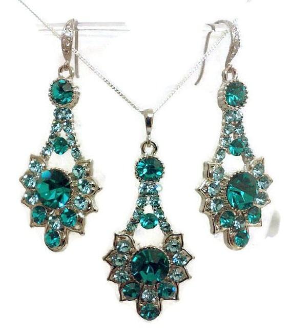 Peacock Wedding Jewelry Set, Teal Turquoise Bridesmaid Earrings, Art Deco Wedding Earrings, Geometric Bridal Necklace, RAYS