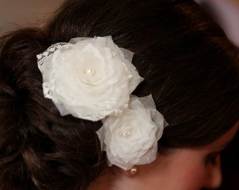 Lace Wedding Head Piece, Flower Bridal Head Piece, Wedding Hair Piece Wedding Hair Accessory Ivory Wedding Hair Flowers Freshwater Pearl